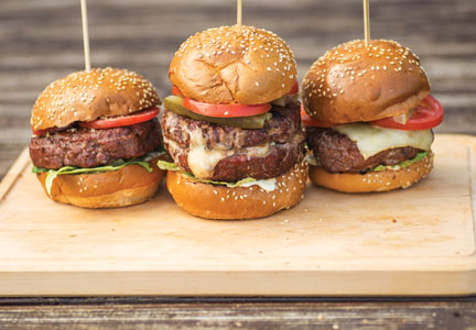 Trio of beef burger sliders