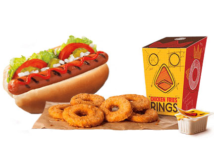 Burger King Chicken Fries Rings and the Whopper Dog