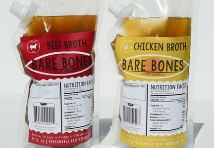 Packages of Bare Bones beef and chicken broths