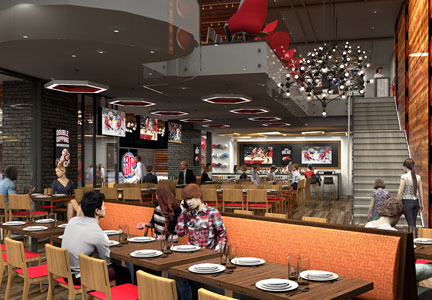 Boston Pizza has upgraded the interior of its urban Toronto location.