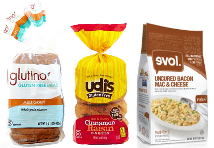 Boulder Brands products, Gluteno bread, Udi's bagels, evol meal