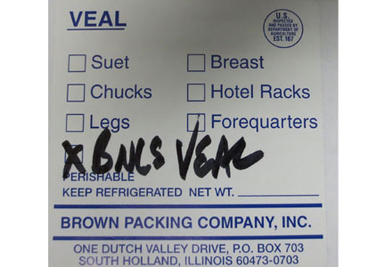 Brown Packing Company recalled an undetermined amount of veal trimmings on E. coli concerns.