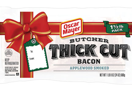 Oscar Mayer used stack-pack format, thick slices and stark-white packaging to give the product the look and feel of bacon found at a traditional butcher shop.