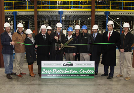 Kansas Gov. Sam Brownback was among dignitaries to attend a ribbon-cutting ceremony for Cargill's new boxed beef distribution center.