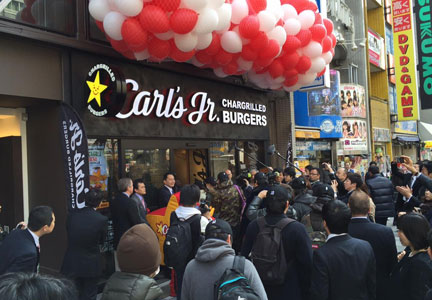 CKE Restaurant Holdings opened its first Carl's Jr. restaurant in Tokyo.