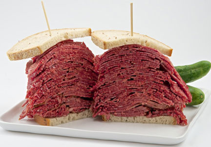 Carnegie Deli's corned beef on rye sandwich