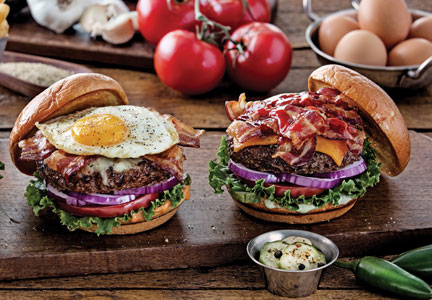 Chili's Sunrise Burger and Ultimate Bacon Burger