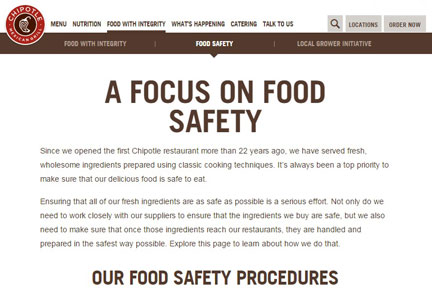 Chipotle food safety web site