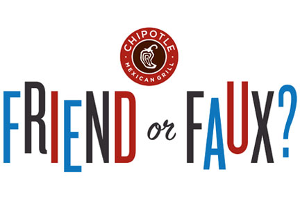 "Chipotle ""Friend or Faux?"" logo"