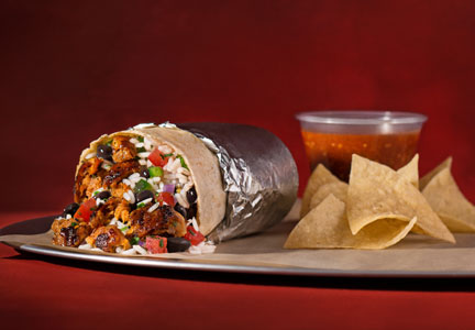 Chipotle Mexican Grill burrito with chorizo, chips and salsa