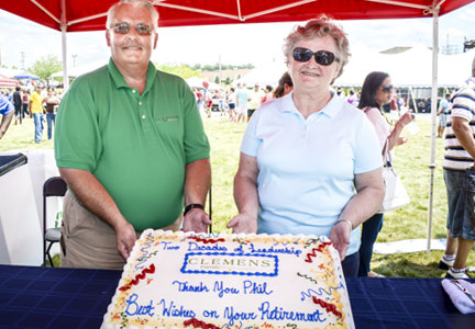 Phil Clemens and his wife, Linda celebrate his retirement from Clemens Family Corp.