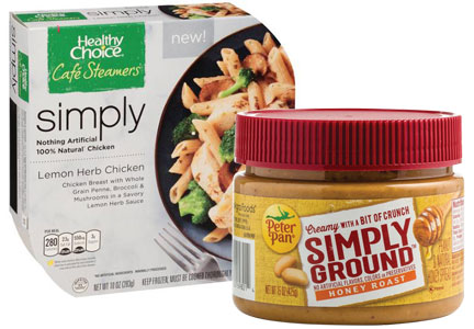 ConAgra Healthy Choice Simply Cafe Steamers, Peter Pan Simply Ground peanut butter