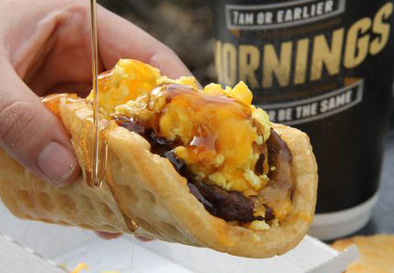 Taco Bell sausage and egg waffle breakfast sandwich