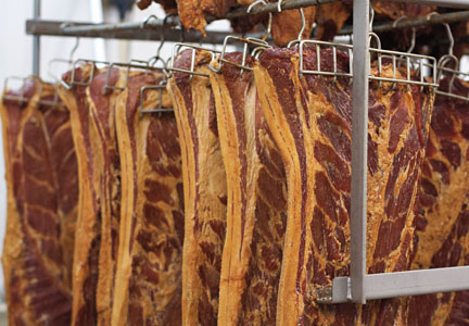 Pederson's Natural Farms processes approximately 100,000 lbs. of bacon per week.