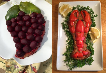 meatloaves shaped as grapes and a lobster