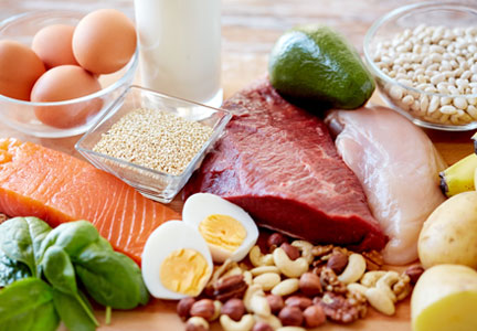 A balanced diet includes a variety of proteins, fruits, vegetables and grains