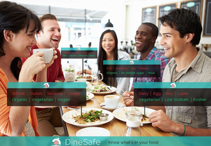 DineSafe is an app that helps users find restaurant menu items that meet their specific dietary needs and restrictions.