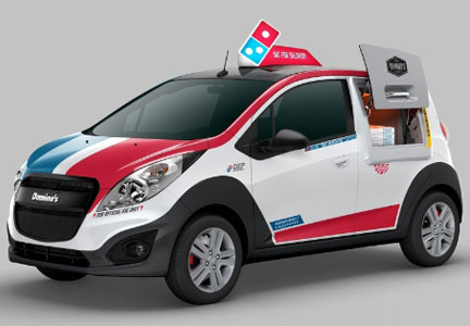 The Domino's DXP is a custom-designed Chevrolet Spark with pizza ovens.