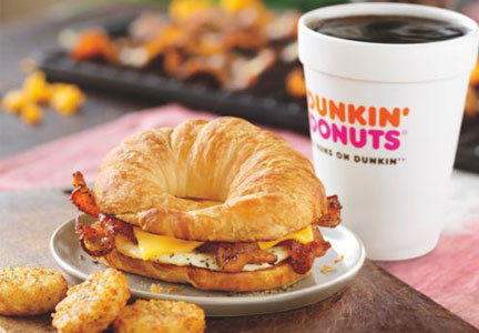 Dunkin' Donuts breakfast sandwich with bacon and eggs