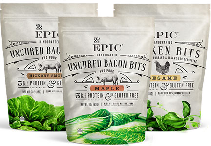The makers of Epic brand meat bars have launched a new line of uncured bacon and poultry bits.