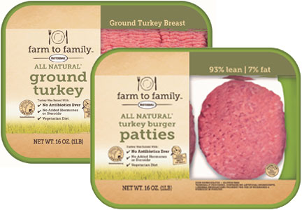 Butterball Farm to Family ground turkey breast and turkey patties