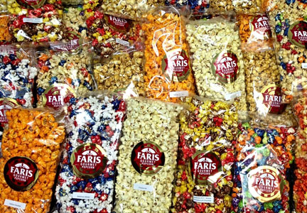 Selection of Faris Gourmet Popcorn products
