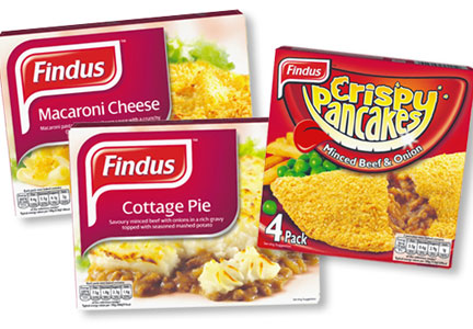 Findus brand macaroni & cheese, cottage pie and crispy pancakes