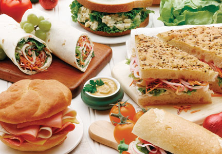 Assortment of deli sandwiches and wraps