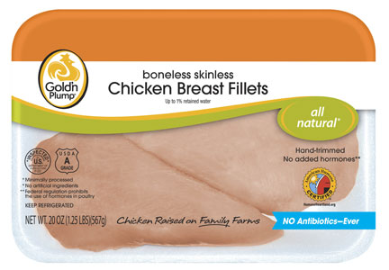 Goldn' Plump all-natural No Antibiotics Ever chicken breasts