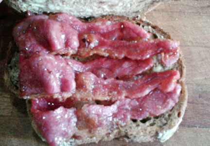 "Goat bacon ""butty"" sandwich"