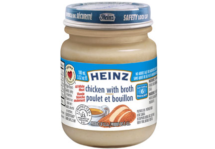 A jar of Heinz chicken with broth infant food