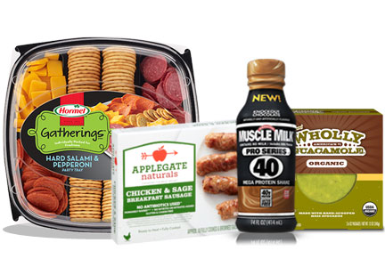 Hormel party tray, Applegate sausage, Muscle Milk protein, Wholly Guacamole dip