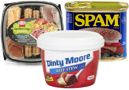 Hormel Gatherings party tray, Dinty Moore stew, Spam