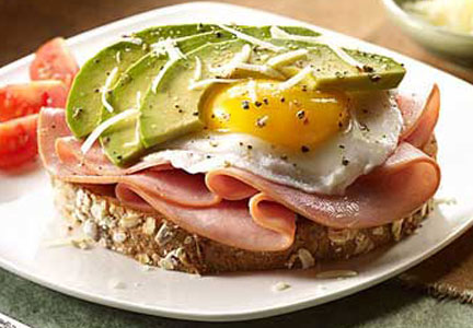 Hormel ham, egg and avocado on toast