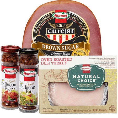 Hormel bacon bits, Cure 81 Ham and Natural Choice turkey meat