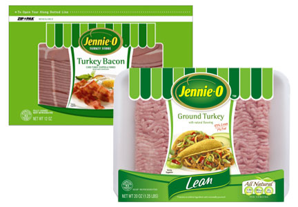 Jennie-O Turkey bacon and ground turkey meat