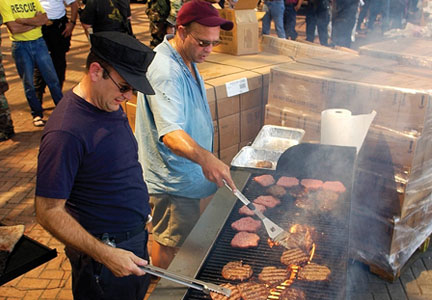 Volunteers prepared food for relief workers. Jerry Hanford and other meat processors were more than happy their meat didn't go to waste.
