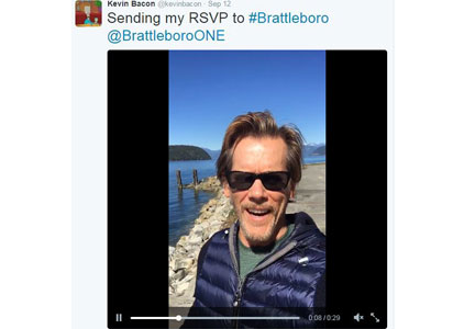 Kevin Bacon tweeted his regrets for being unable to attend Brattleboro's Baconfest.