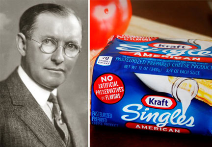 James Lewis Kraft and a package of of Kraft Sinlges processed cheese