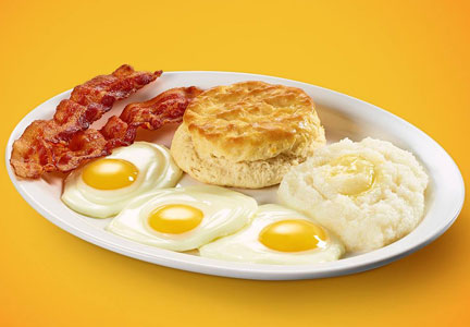 Krystal bacon and eggs breakfast platter