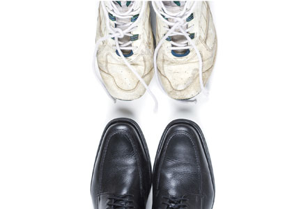 image of sneakers and dress shoes in story about dress codes