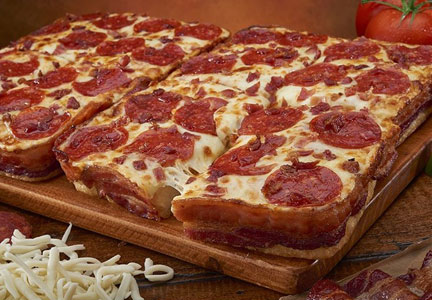Little Caesars bacon-crust pizza