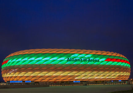 Allianz Arena lit up in the colors of the McB sandwich