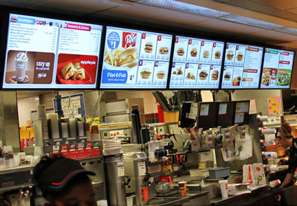 McDonald's digital menu boards