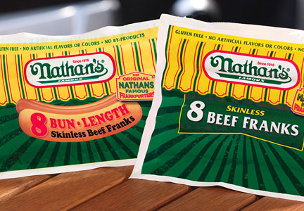 Nathan's Famous beef hot dogs