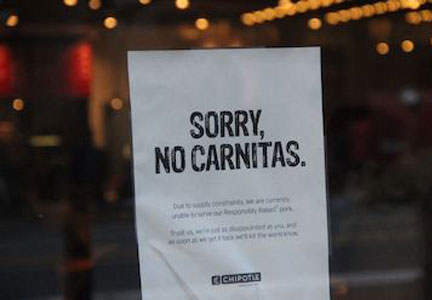 Chipotle struggled to source antibiotic-free pork for its carnitas.