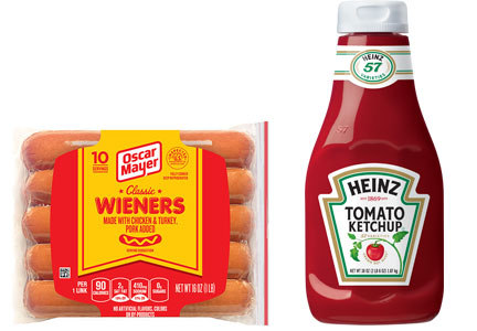 A package of Oscar Mayer hot dogs and a bottle of Heinz ketchup