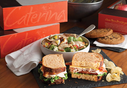 Panera Bread catering boxes, sandwiches and soup