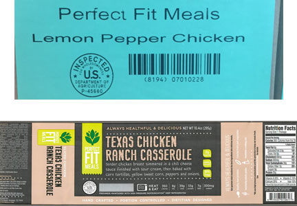 Perfect Fit Meals recalled more than 10,000 lbs. of chicken entrees