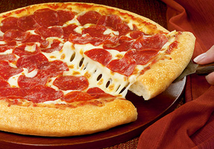 Pizza Hut pepperoni and cheese pizza